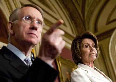Sen. Harry Reid pointing finger. Rep. Nancy Pelosi standing by.